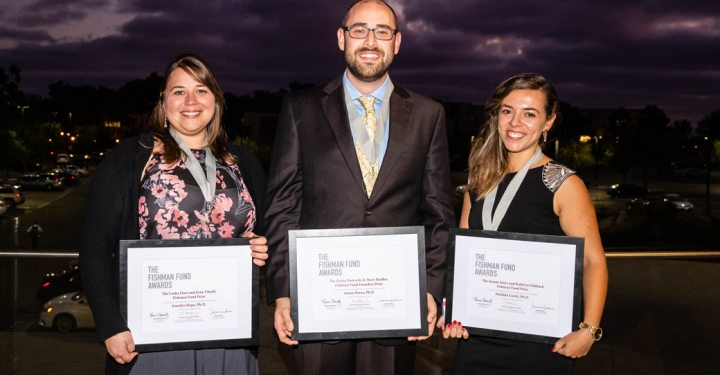 2019 Fishman Fund Award winners, left to right: Jennifer Hope, Ph.D., Aaron Harvas, Ph.D., Mafalda Loreti, Ph.D.