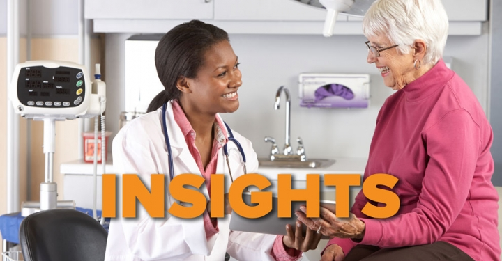 Insights graphic, miling Black female doctor with smiling older white woman patient