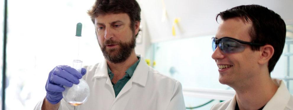 scientist writes formulas on board