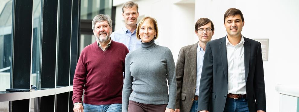From left: Rolf Bodmer, Ph.D., Chris Larson, Ph.D., Karen Ocorr, Ph.D., Evan Muse, M.D., Ph.D., Alexandre Colas, Ph.D.