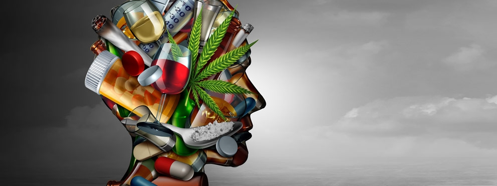 illustration of head made of addictive substances