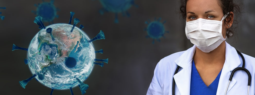 masked doctor with global virus graphic
