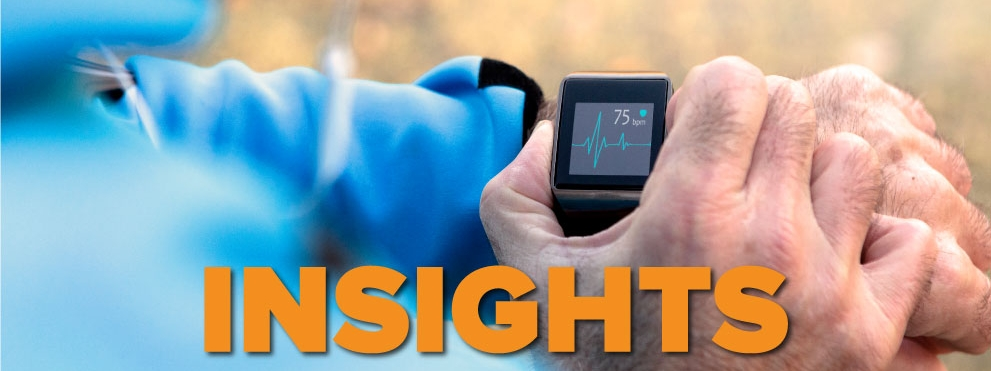 Insights graphic, runner looking at EKG on watch