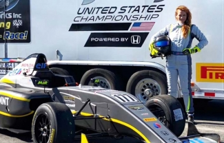Angela Durazo with racecar