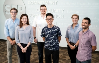 2019 new Graduate Students; left to right: Benjamin Van Espen, Linda Chang, Jordan Friedlein, Zong Ming Chua, Michaela Lynott, Steven Sakuma