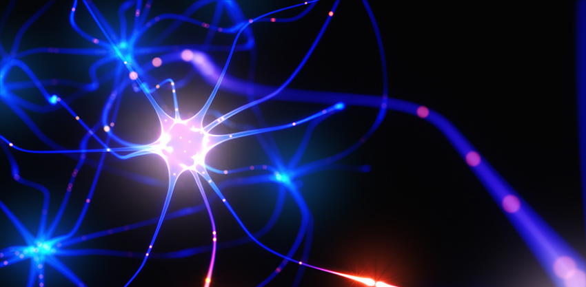 3D illustration of Interconnected neurons with electrical pulses