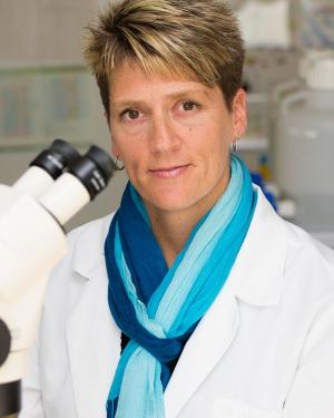 Malene Hansen, Ph.D., headshot at a microscope
